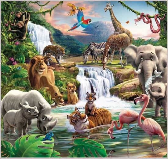 Image gallery jungle wallpaper for kids for Children s wallpaper mural