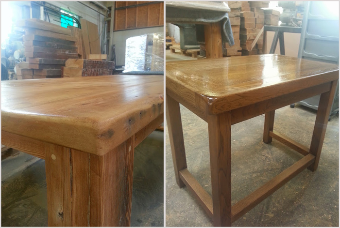 reclaimed wood table nearly ready