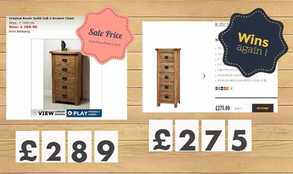 Oak Furniture Price Comparison