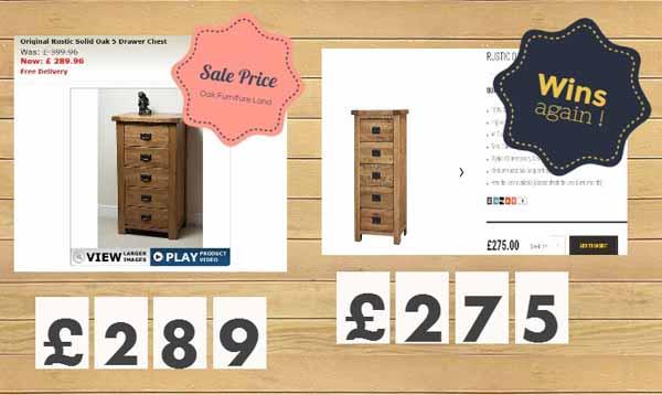 Oak Furniture Price Comparison